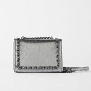 Zara silver mini crossbody w/ chain detail